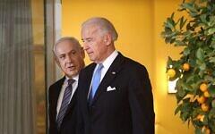 تصویر: بنیامین نتانیاهو نخست وزیر، چپ، بهمراه جو بایدن، معاون ریاست جمهوری وقت ایالات متحده، اورشلیم، ۹ مارس ۲۰۱۰. (Emil Salman/Pool/Flash90)