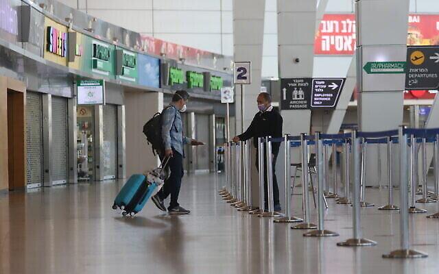 تصویر: سالن پروازهای خارجی فرودگاه بن گوریون، ۲۵ ژانویه ۲۰۲۱. (Yossi Aloni/Flash90)