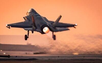 جت جنگنده اف ۳۵ در مانور غیرمترقبه که «گل سرخ جلیله» نامیده شد؛ فوریه ۲۰۲۱.  (Israel Defense Forces)