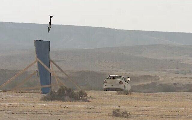 عکس ویدئویی از خمپارهٔ «نیش آهنین» حین آزمون. (Defense Ministry)