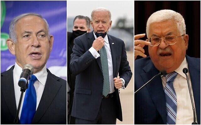 تصویر: از چپ به راست، بنیامین نتانیاهو نخست وزیر، جو بایدن رئیس جمهور ایالات متحده، و پرزیدنت محمود عباس رئیس تشکیلات خودگردان فلسطینیان. (Collage/AP)