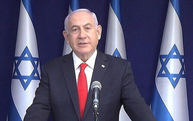 تصویر: بنیامین نتانیاهو نخست وزیر در سخنانی پس از پایان جلسه اول دادگاه اثبات دعاوی فساد علیه وی، مدعی است قربانی کودتای ناموفق سیاسی شده است، ۵ آوریل ۲۰۲۱. (GPO)