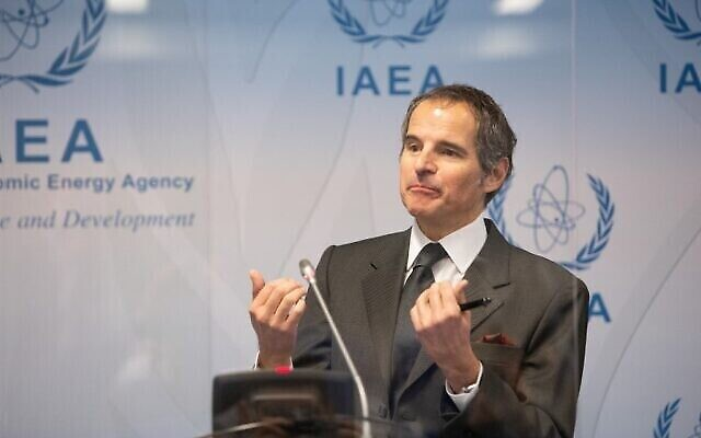 Rafael Grossi, Director General of the International Atomic Energy Agency (IAEA), speaks during a press conference at the agency's headquarters in Vienna, Austria on Mai 24, 2021. (Photo by ALEX HALADA / AFP)