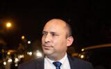 تصویر: نفتالی بنت رهبر «حزب یمینا» حین ورود به جلسه ای با بنیامین نتانیاهو نخست وزیر در اقامتگاه رسمی او در اورشلیم، ۸ آوریل ۲۰۲۱. (Yonatan Sindel/Flash90)