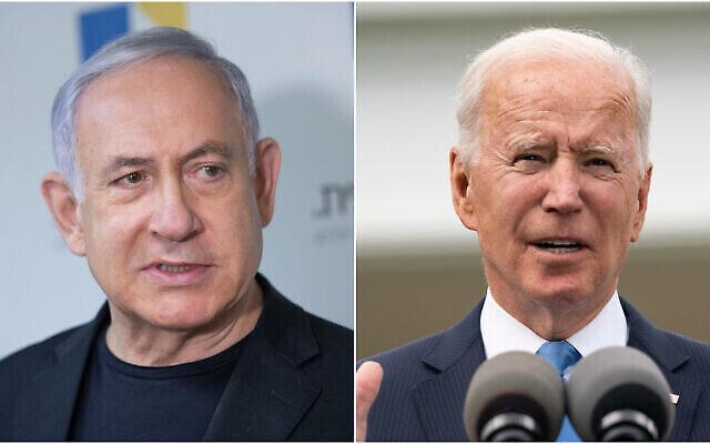 تصویر: بنیامین نتانیاهو، چپ، جو بایدن رئیس جمهور ایالات متحده، راست. (Flash90/AP)