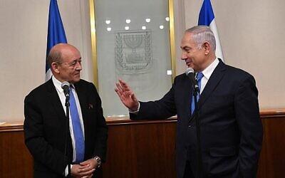 تصویر: بنیامین نتانیاهو نخست وزیر، راست، در ملاقات با ژان-ایو لا دریان، ۲۶ مارس ۲۰۱۸.  (Kobi Gideon/GPO)