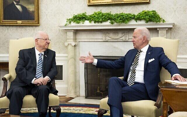 تصویر: پرزیدنت رئوبن ریولین رئیس جمهور اسرائیل، راست، میزبان پرزیدنت فرانک-والتر اشتاینمیر رئیس جمهور آلمان در اورشلیم، ۱ ژوئیه ۲۰۲۱. (Koby Gideon/GPO)