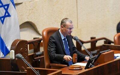 تصویر: «یاریف لیوین» در پلنوم کنست، ۷ ژوئن ۲۰۲۱. (Noam Moskowitz/Knesset)