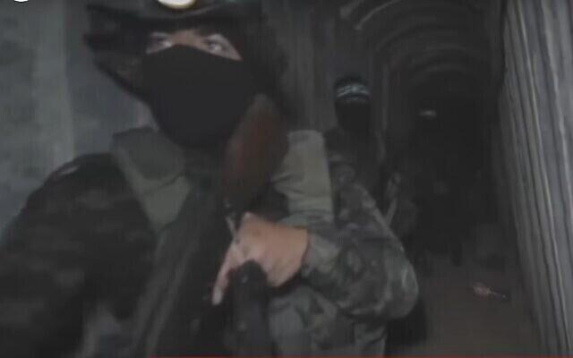 تصویر: فیلمی که شبکه الجزیره از شبکهٔ تونل زیرزمینی نوار غزه در ۵ ژوئن ۲۰۲۱ پخش کرد. (Screen grab)