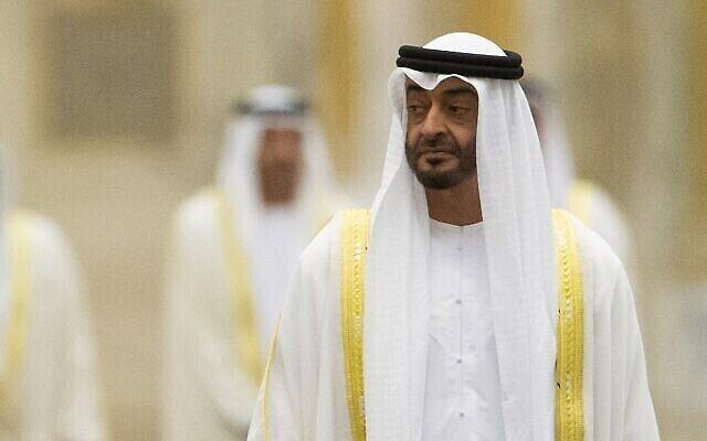 تصویر: محمد بن زاید آل نحیان ولیعهد امارات در ابوظبی، ۱۵ اکتبر ۲۰۱۹. (AP Photo/Alexander Zemlianichenko, Pool)
