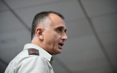 تصویر: سرلشگر تامیر هیمن، رئیس اداره اطلاعات ارتش در کنفرانس سالانه بین المللی مؤسسهٔ مطالعات امنیت ملی ، تل آویو، ۲۸ ژانویه ۲۰۲۰. (Tomer Neuberg/FLASH90)