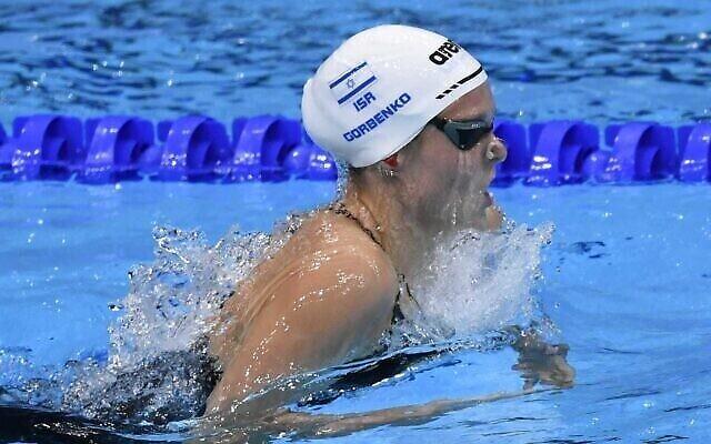 تصویر: آناستازیا گوربنکوی اسرائیلی در بازیهای المپیک ۲۰۲۰ توکیو در مرکز آکواتیک توکیو، توکیو، ۲۶ ژوئيه ۲۰۲۱. (Amit Shisel/Israel Olympic Committee)