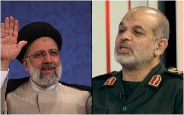 تصویر: ابراهیم رئیسی، رئیس جمهور رژیم ایران، چپ، و «احمد وحیدی» وزیر کشور.  (Collage/ AP, YouTube/Screen capture)