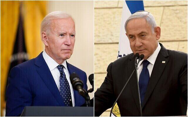 چپ: جو بایدن رئیس جمهور ایالات متحده حین سخنرانی دربارهٔ روسیه در تالار شرقی کاخ سفید، پنجشنبه، ۱۵ آوریل ۲۰۲۱، واشنگتن. (AP Photo/Andrew Harnik);. راست، بنیامین نتانیاهو نخست وزیر وقت حین سخنرانی در مراسم یادبود سربازان به خاک افتادهٔ اسرائیل در یاد «بنای له بانیم»، شب پیش از روز یادبود، اورشلیم، سه شنبه، ۱۳ آوریل ۲۰۲۱.  (Debbie Hill/Pool Photo via AP)