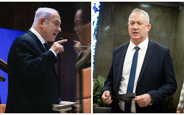 تصویر: بنیامین نتانیاهو رهبر مخالفان، چپ، و بنی گانتز وزیر دفاع اسرائیل.  (Olivier Fitoussi, Yonatan Sindel/Flash90)