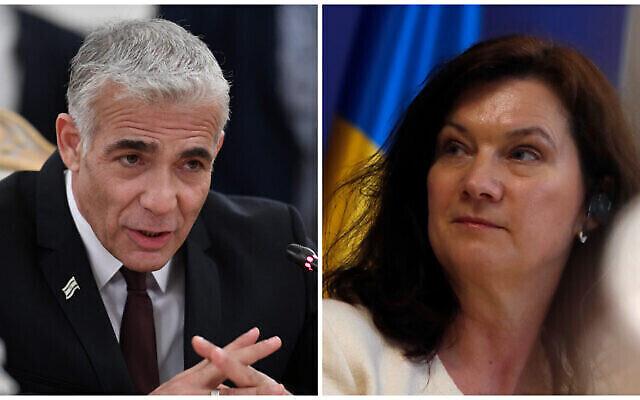 تصویر: یائیر لپید وزیر خارجه اسرائيل، چپ، و آن لینده وزیر خارجهٔ سوئد، راست.  (Alexander Nemenov/Pool via AP, AP/Darko Vojinovic))