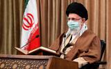 تصویر: علی خامنه ای در مراسمی در تهران، ایران، ۱۴ آوریل ۲۰۲۱.  (Office of the Iranian Supreme Leader via AP)