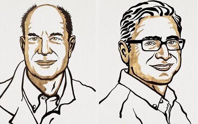 تصویر: دیوید ژولیوس و آردم پاتاپوشین، برندگان جایزهٔ نوبل. (NIKLAS ELMEHED / NOBEL PRIZE OUTREACH)