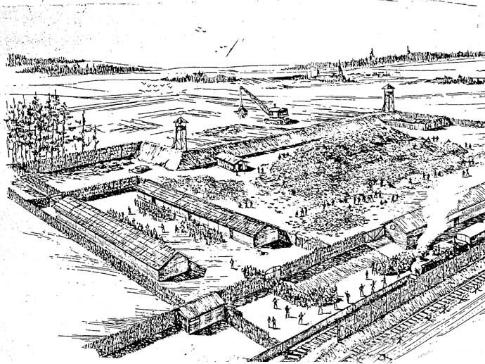A drawing of Treblinka by Samuel Willenberg, one of the last known living survivors.