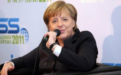 Angela Merkel à Tel Aviv (Crédit : Roni Schutzer/Flash90)