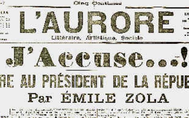 """La lettre """"J'accuse"""" d'Emile Zola, publiée en 1898 dans L'Aurore. (Crédit : WikiCommons)"""