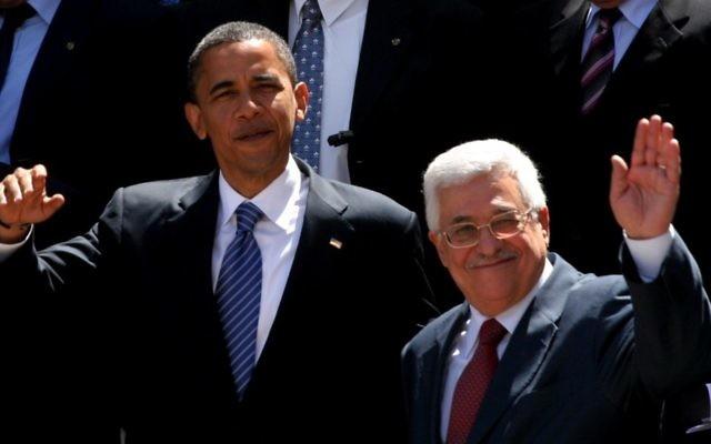 Le président américain Barack Obama, à gauche, et le président de l'Autorité palestinienne, Mahmoud Abbas en 2008 (Crédit photo: Issam Rimawi / Flash90 / File)