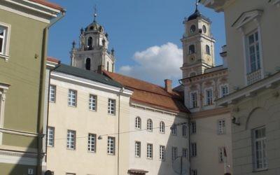 Les bâtiments arrière de l'université de Vilnius (Crédit :   Michal Shmulovich)