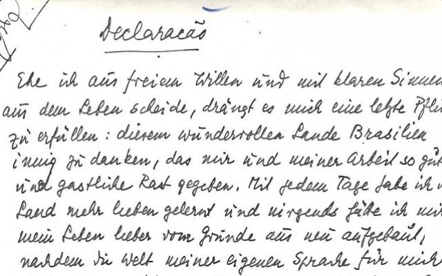 La note laissée par Stefan Zweig avant son suicide (Crédit : The National Library of Israel)