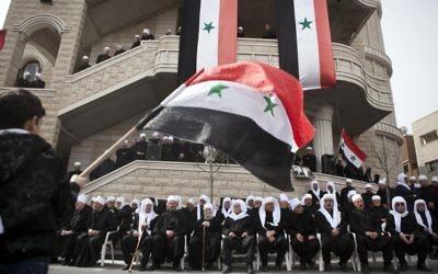 Une manifestation pro-Assad à Majdal Shams, ville druze du plateau du Golan, en février 2012. (Crédit : Matanya Tausig/Flash90)