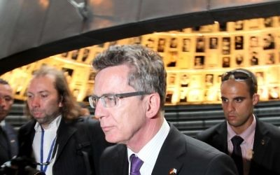 Germany's defense minister Dr. Thomas de Maiziere during a recent visit to Israel (photo credit: Kobi Gideon/Flash90)