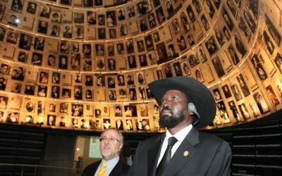 South Sudan president Salva Kiir Mayardit visits Yad Vashem (photo credit: Isaac Harari/Flash90)