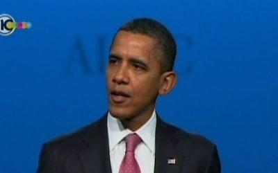 Le président américain Barack Obama prenant la parole devant l'AIPAC. Photo illustrative (Capture d'écran: Dixième chaîne israélienne)