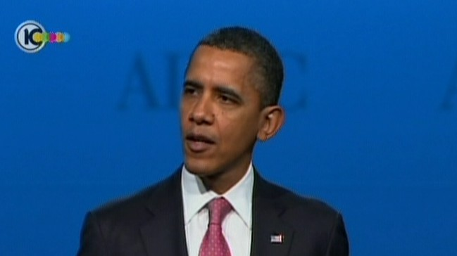 Image capture of US President Barack Obama addressing the audience at AIPAC (photo credit: Channel 10)