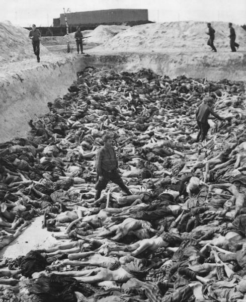 Mass graves at Bergen-Belsen concentration camp (photo credit: United Kingdom Armed Forces; Imperial War Museum id# BU 4260, Wikimedia Commons)