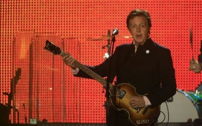 McCartney plays in Tel Aviv in 2008. (photo credit: Nati Shohat/Flash90)