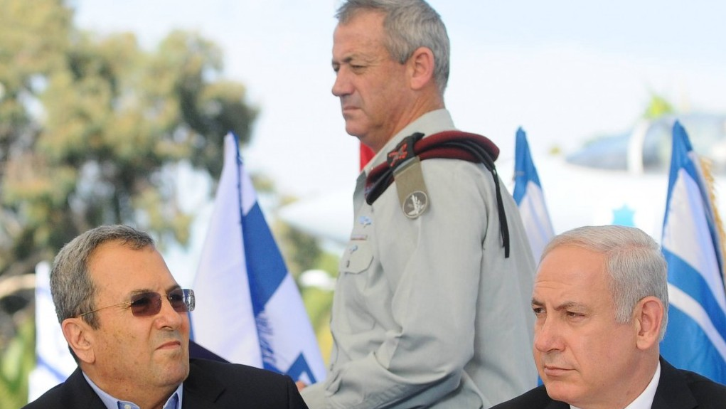 IDF Chief of Staff Benny Gantz walks by Prime Minister Benjamin Netanyahu and Defense Minister Ehud Barak last year. (photo credit: Yossi Zeliger/Flash90)