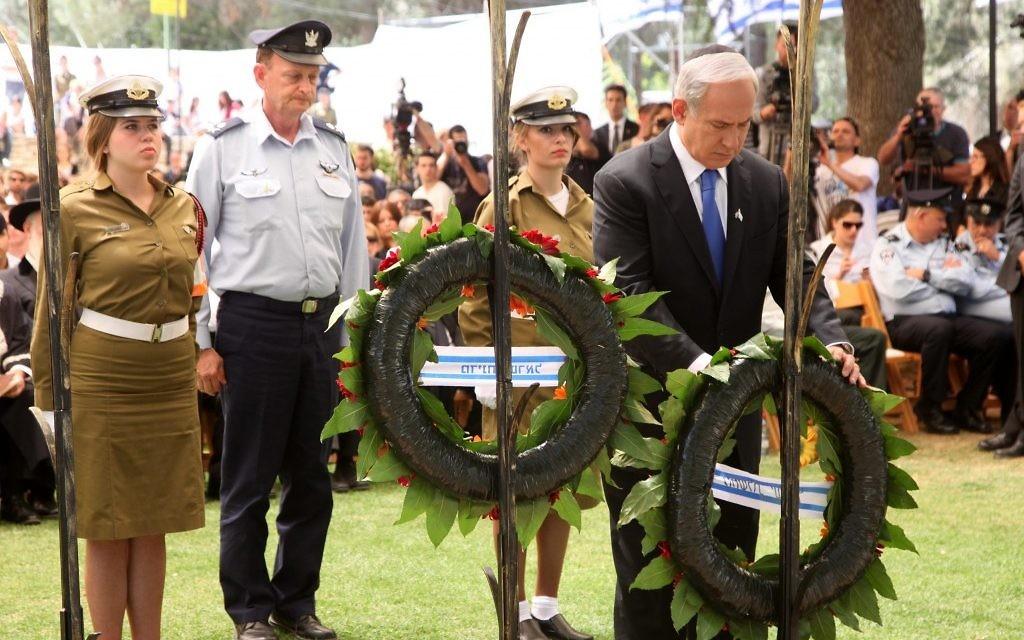 Benjamin Netanyahu laying a memorial wreath Wednesday. (photo credit: Marc Israel Sellem/pool/Flash90)