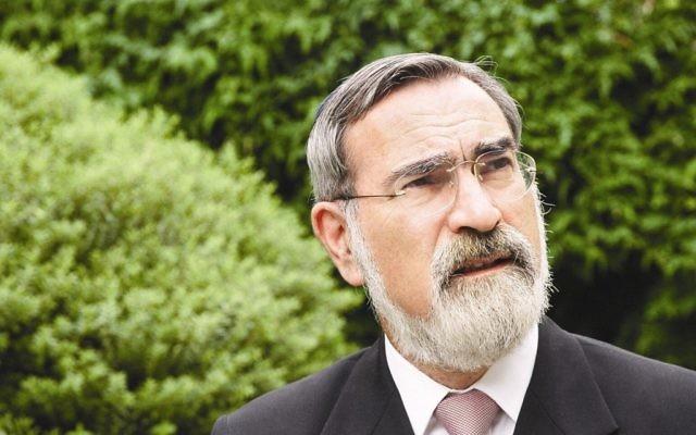 L'ancien grand rabbin britannique Lord Jonathan Sacks (United Synagogue via JTA)