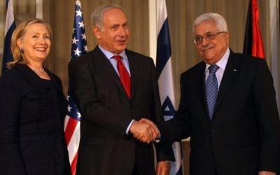 Rencontre au sommet entre la Secrétaire d'Etat Hillary Clinton, le Premier ministre Benjamin Netanyahu, et  le Président de l'AP Mahmoud Abbas à Jérusalem le 15 septembre 2010 (Crédit photo:  Kobi Gideon/Flash90)