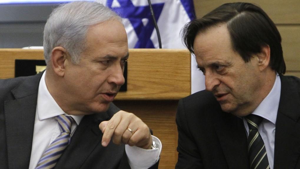 Dan Meridor (right) with Benjamin Netanyahu. (photo credit: Miriam Alster/Flash90)