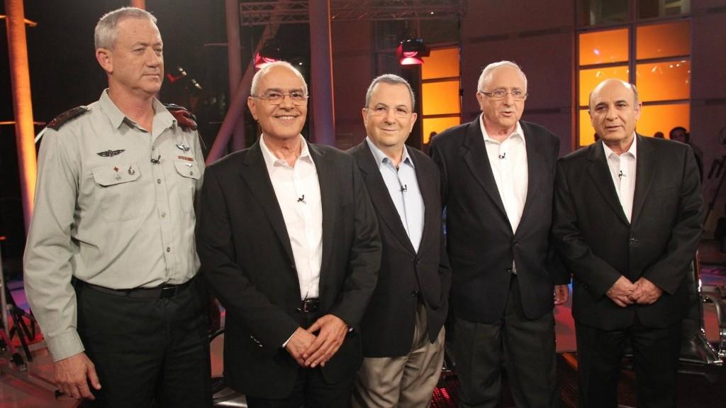Hail the chiefs. (From left) Current IDF chief of staff Gantz and predecessors-turned-politicians Dan Halutz, Ehud Barak, Amnon Lipkin-Shahak and Shaul Mofaz, pictured last year. (photo credit: Meir Partush/Flash90)