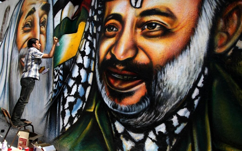 Une fresque représentant Arafat à Arafat in Gaza (Crédit : Wissam Nassar/Flash90)