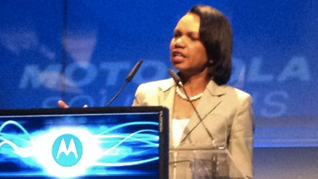 Former US Secretary of State Condoleezza Rice speaking in Israel (Courtesy)