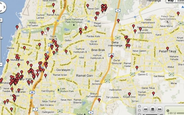 La carte des Start-up en Israël en 2012 (Crédit : autorisation)