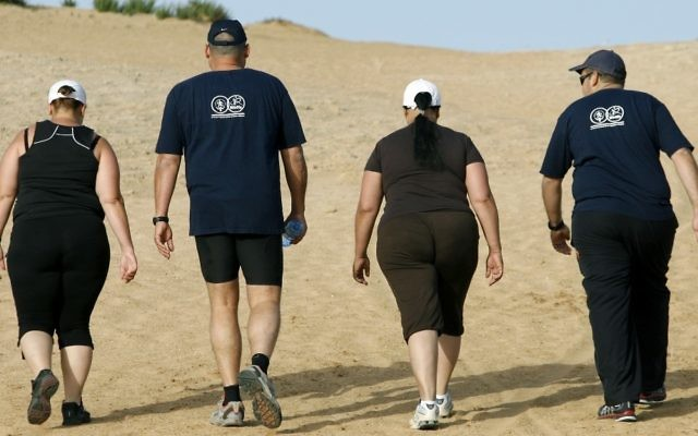 des personnes en surpoids font une randonnée à l'institut Wingate. (Crédit : Moshe Shai/Flash90)