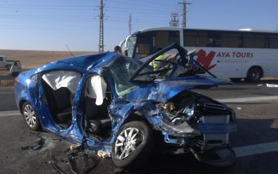 Accident de voiture. Illustration. (Crédit : Dudu Greenspan/Flash90)