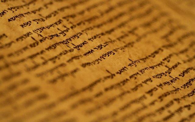 Des fragments des Rouleaux de la mer Morte, qui comprennent les plus anciens manuscrits bibliques  connus datés entre 150 avant notre ère et 70 de notre ère, exposés au Musée d'Israël à Jérusalem (Crédit : Miriam Alster/Flash90)