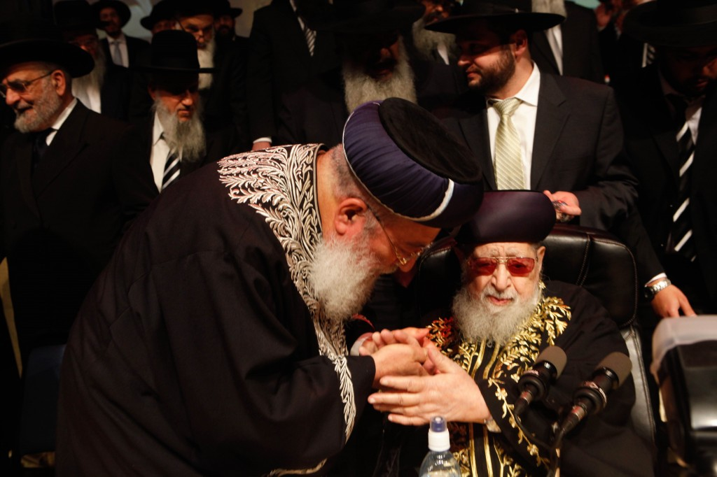 Shas spirtual leader Rabbi Ovadia Yosef and Chief Sephardi Rabbi Shlomo Amar during a Shas party Passover conference, April 2012 (photo credit: Uri Lenz/Flashh90)
