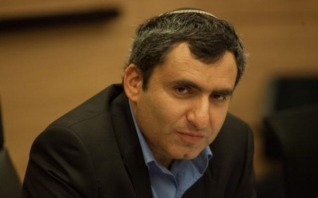 Zeev Elkin, ministre des Affaires de Jérusalem (Likud), à la Knesset. (Crédit : Uri Lenz/Flash90)