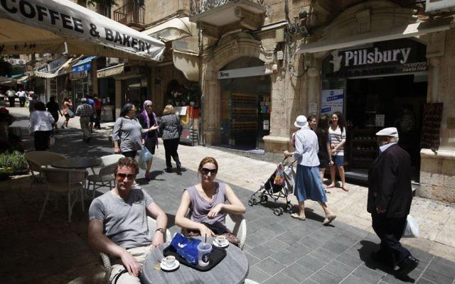 Vue de la rue  Ben Yehuda au centre de Jérusalem (Crédit photo: Miriam Alster/Flash90)